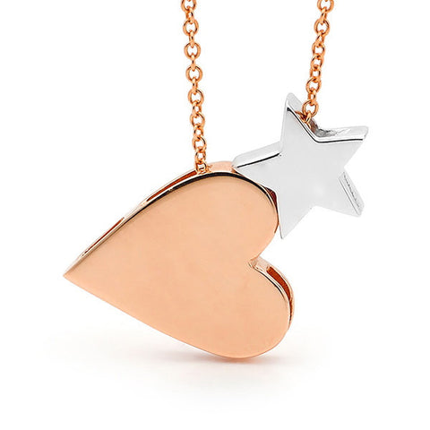Rose and White gold 'Baby Star' and 'Heart' Necklace
