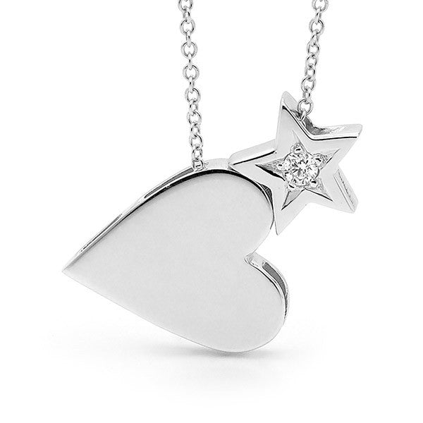 White Gold Diamond 'Heart & Star' Necklace
