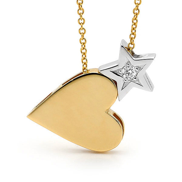 White & Yellow Gold Diamond 'Heart & Star' Necklace