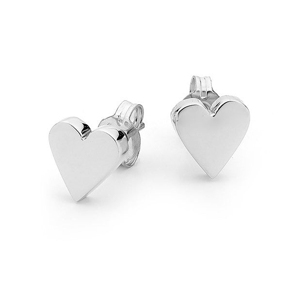 White Gold 'Baby Heart' Stud Earrings