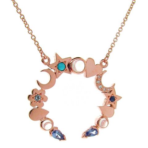 Rose Gold Mermaid Moon Necklace