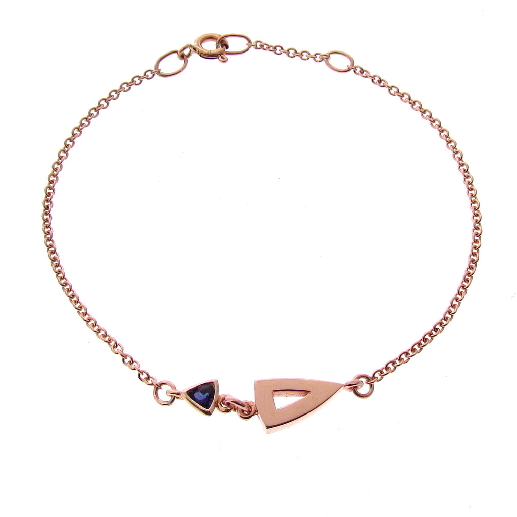 Rose Gold Iolite Midi Arrow Head Bracelet