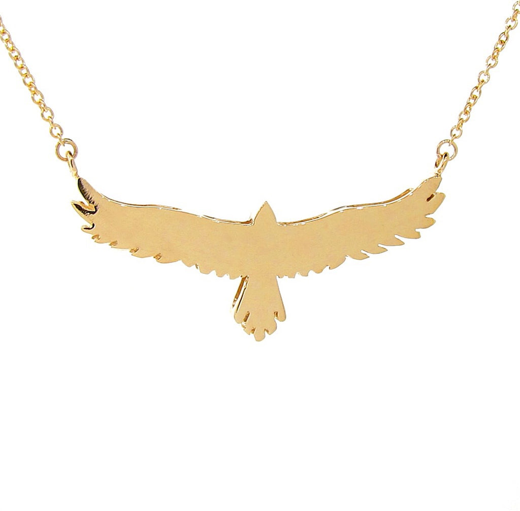 Yellow Gold open-winged eagle necklace