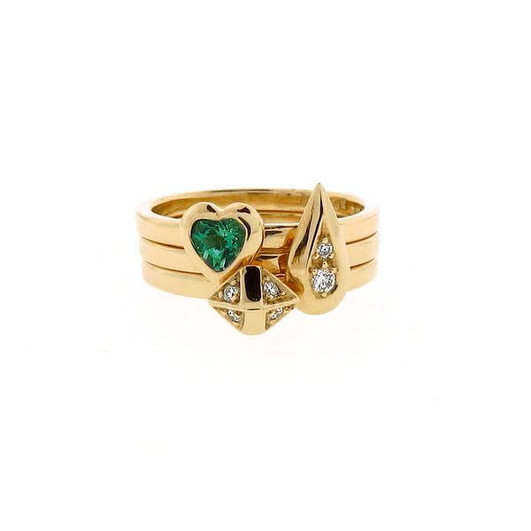 yellow gold diamond gilson emerald 3 ring stacking set
