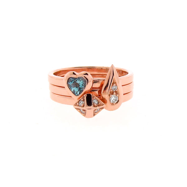rose gold diamond aquamarine 3 ring stacking set