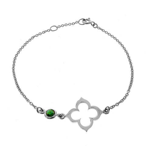 White Gold Tourmaline Moroccan Clover Bracelet