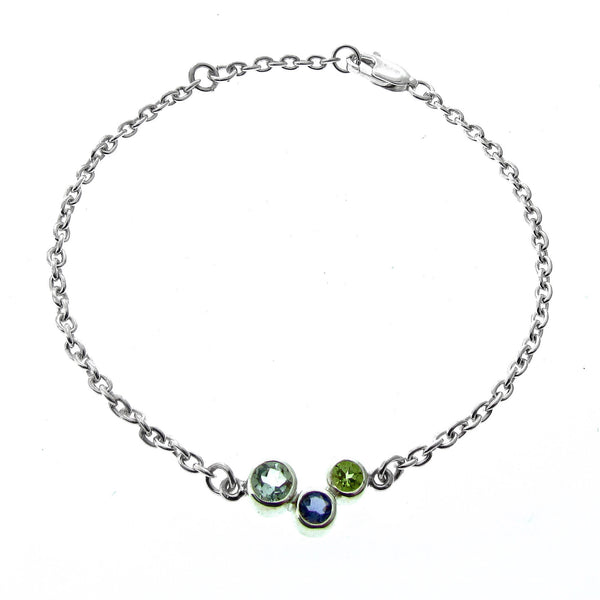 Silver Green Quartz, Iolite and Peridot Bubbles  Bracelet