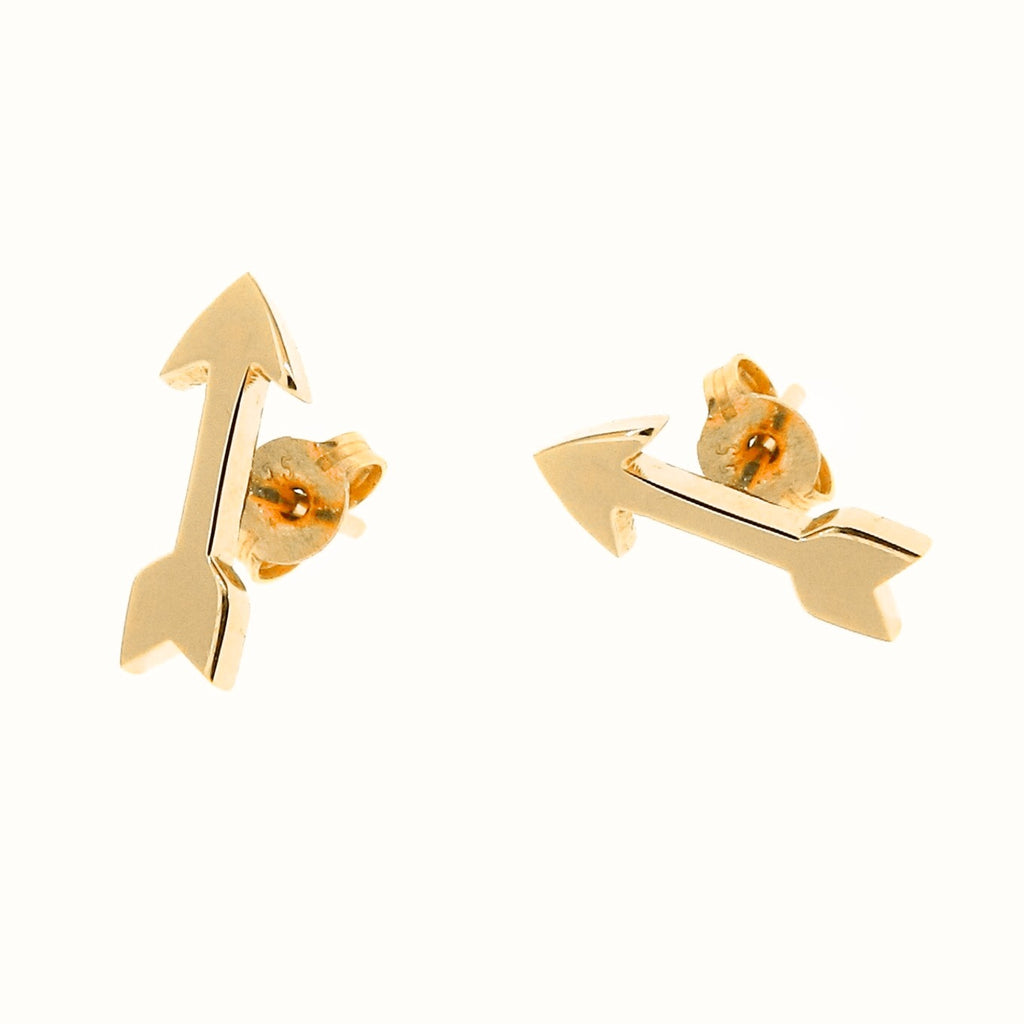 Yellow gold arrow stud earrings