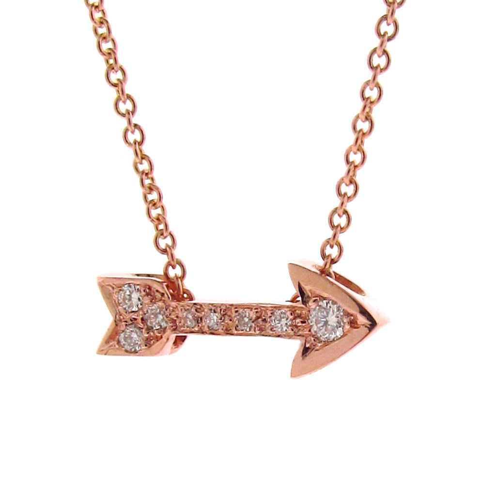 Rose Gold Diamond Baby Arrow Pendant