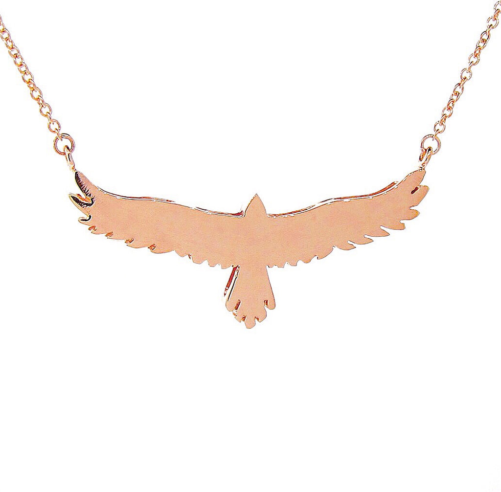 Rose Gold open-winged eagle necklace