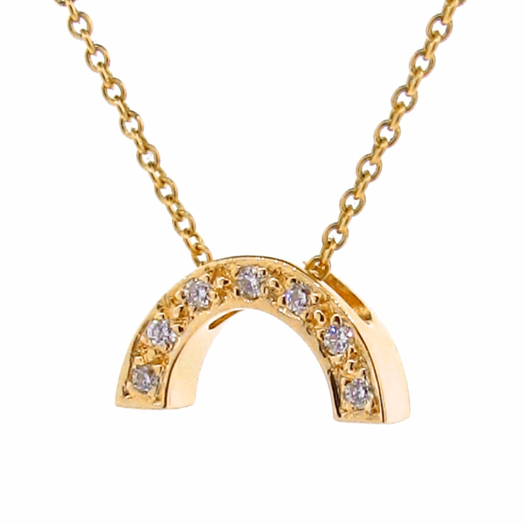 Yellow Gold and Diamond Baby Rainbow Pendant