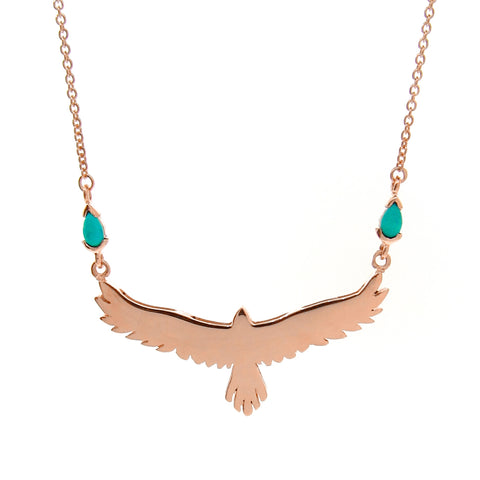Rose Gold Turquoise open-winged eagle necklace
