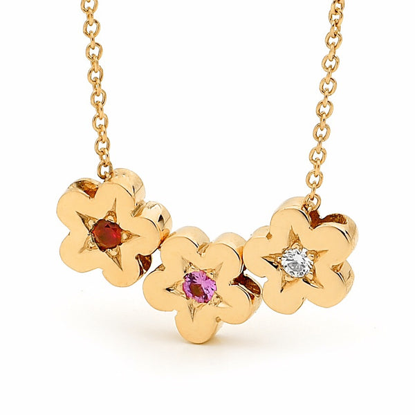 Yellow Gold Diamond Ruby and Pink Sapphire Blossoms necklace