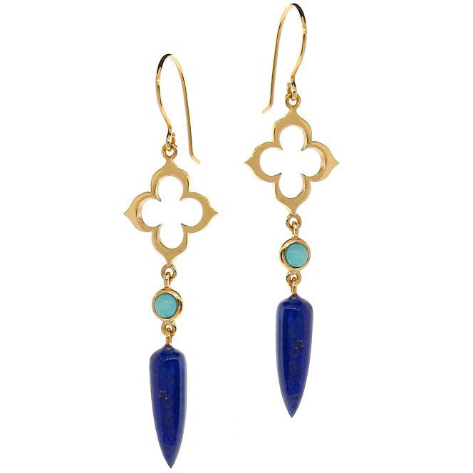 Yellow Gold Moroccan Clover Turquoise & Lapis Earrings