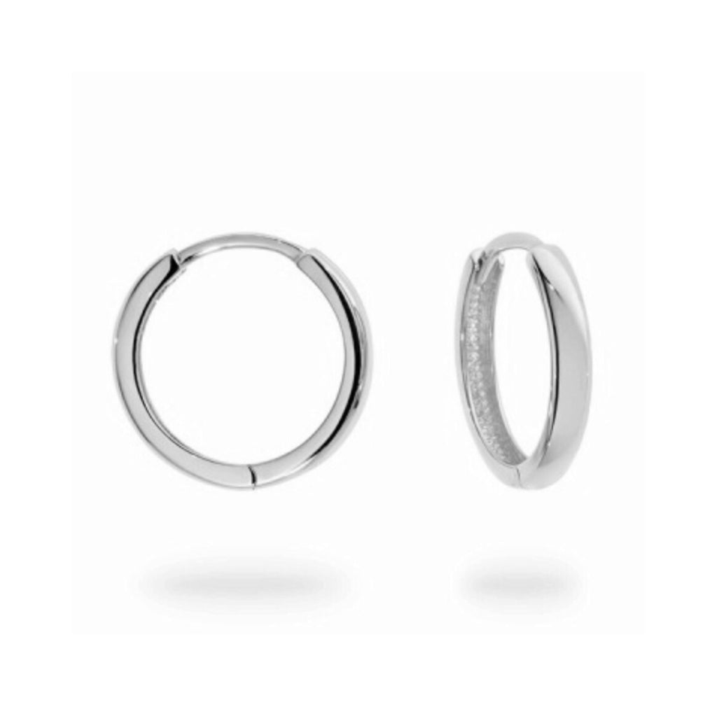 Medium White Gold hinged Huggie Hoops