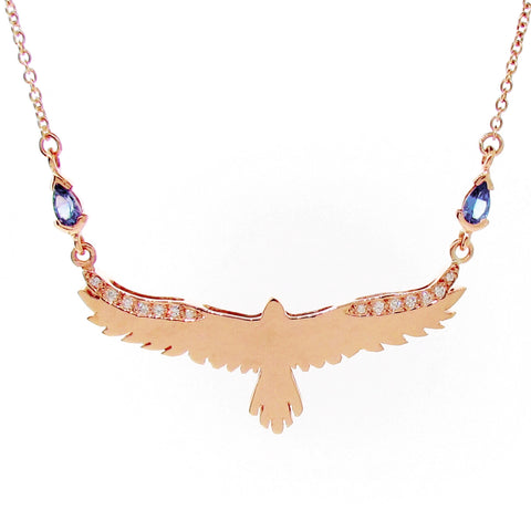 Rose Gold Tanzanite Diamond open-winged eagle necklace
