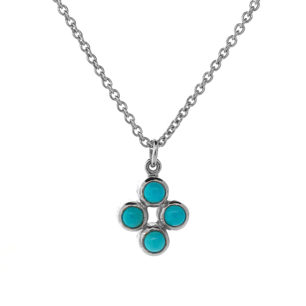 White Gold Turquoise Quattro Bubble Pendant