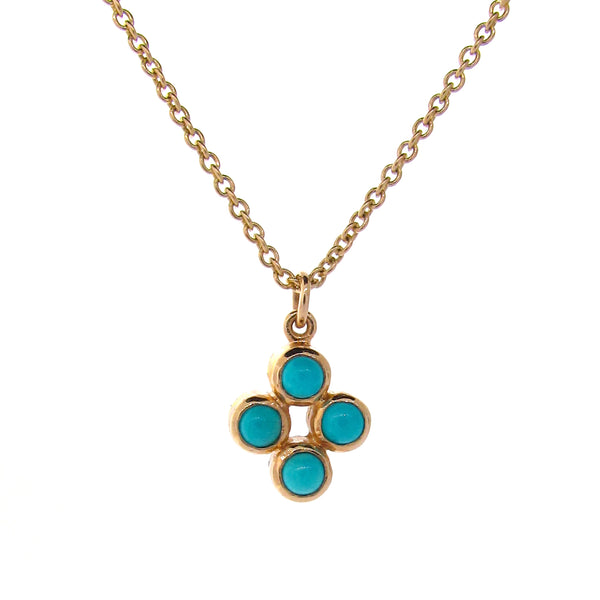 Yellow Gold Turquoise Quattro Bubble Pendant