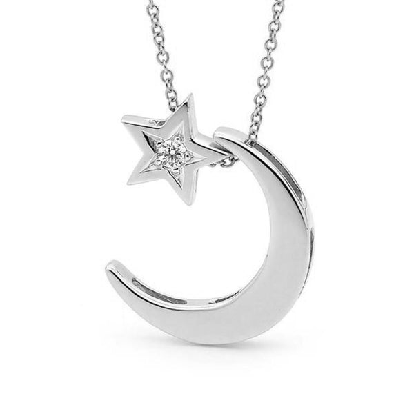 White Gold Diamond Moon & Star Necklace