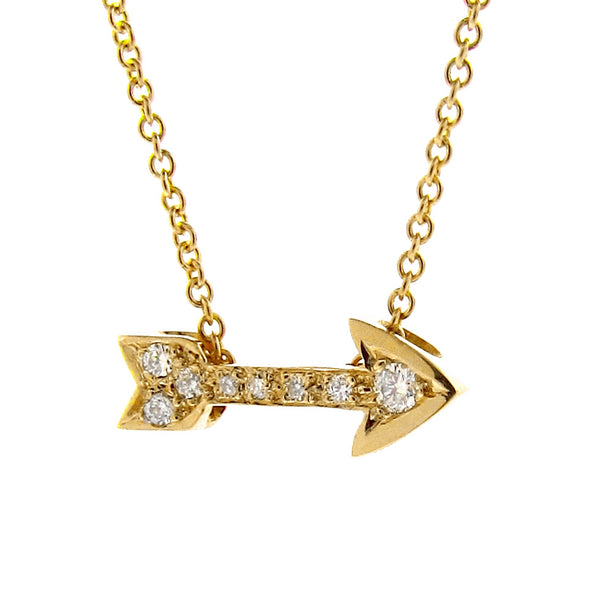Yellow Gold Diamond Baby Arrow Pendant