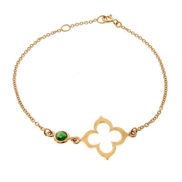 Yellow Gold Tourmaline Moroccan Clover Bracelet