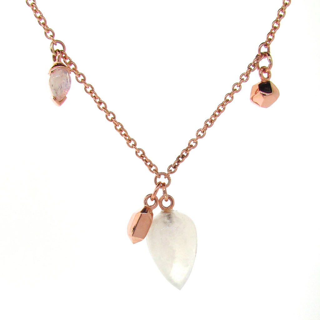 Rose Gold Moonstone Crystal Charm Necklace