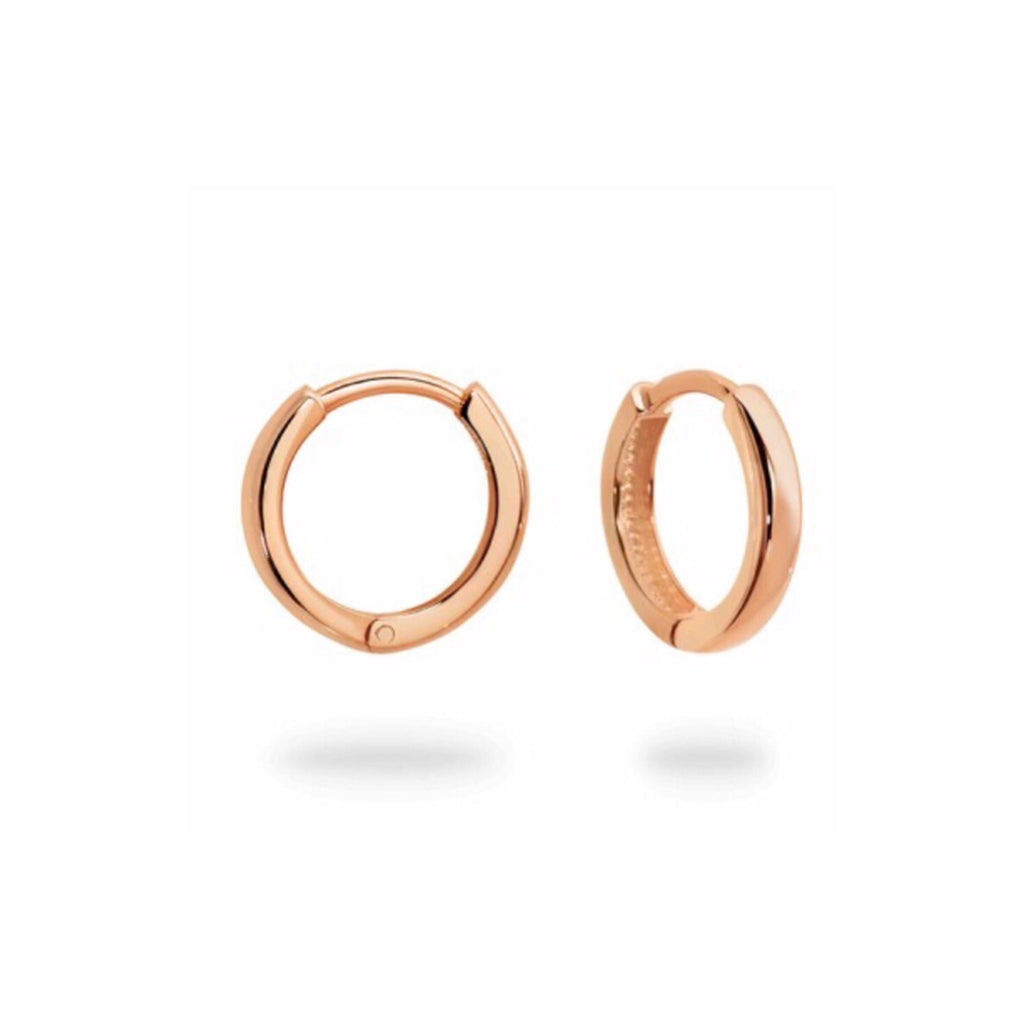 Small Rose Gold hinged Huggie Hoops