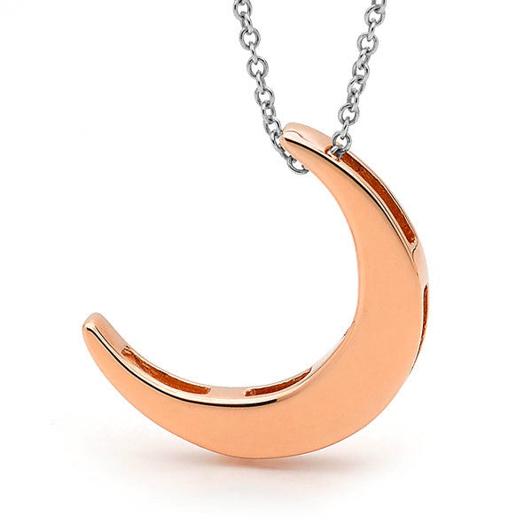 Rose Gold and silver 'Moon' Necklace