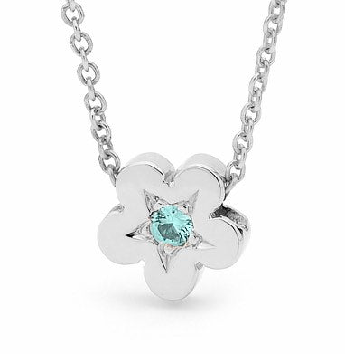 Sterling Silver Aquamarine Baby Blossom Pendant