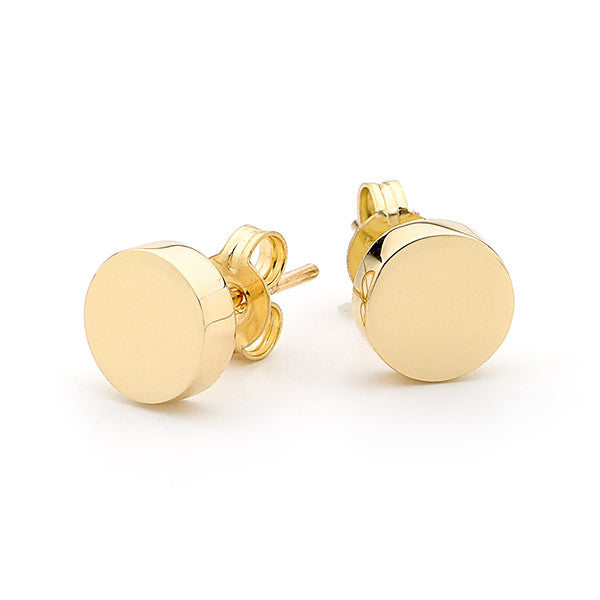Yellow Gold 'Disc' Stud Earrings