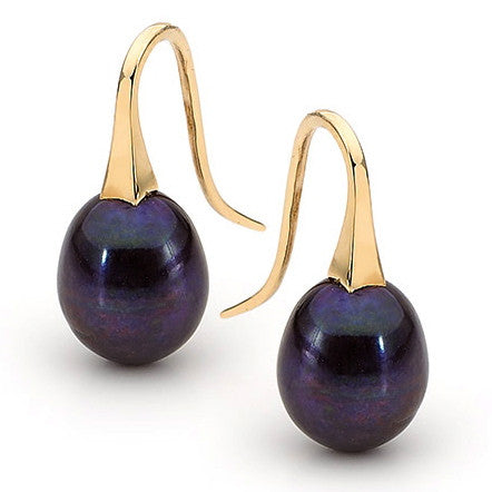 Yellow Gold Medium Black Pearl 'ShortDrop' Earrings