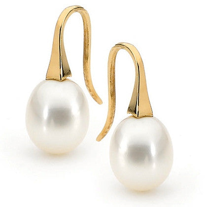 Yellow Gold Medium White Pearl 'ShortDrop' Earrings