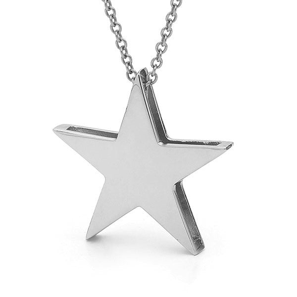 White gold Large Star Pendant or Necklace