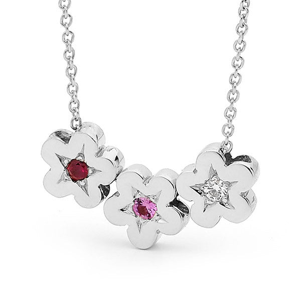 White Gold Diamond, Ruby and Pink Sapphire Blossoms Necklace