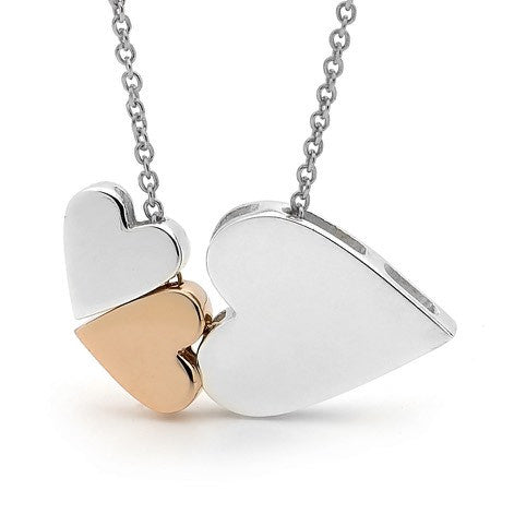 Rose Gold & Silver '3 Hearts' Necklace