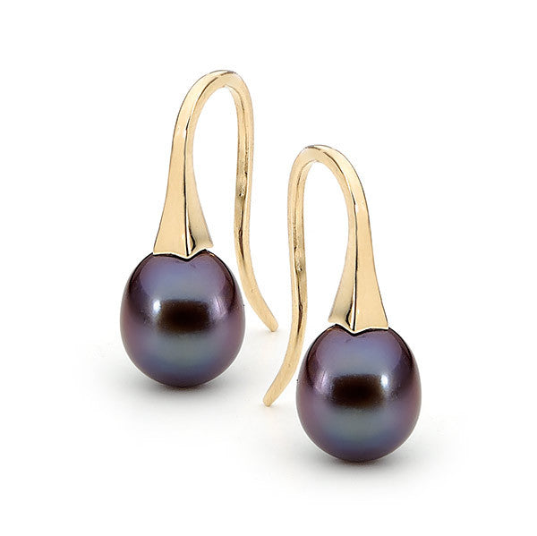 Yellow Gold Small Black Pearl 'ShortDrop' Earrings