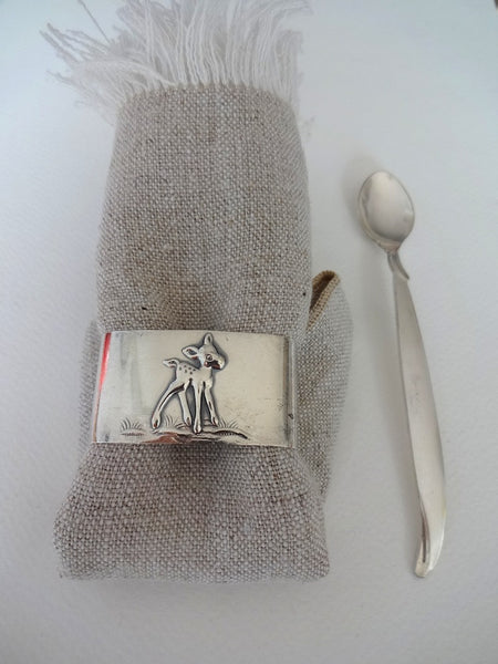 .Baby set with spoon, napkin ring & linen napkin