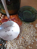 Soup kit: including a soup ladle with message, a Bülach canning jar from 1915-1950 and soup ingredients