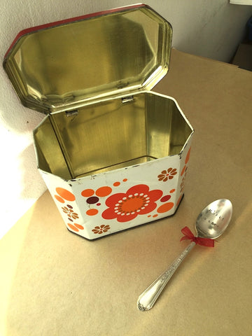 Vintage tin (coffee or tea) box with spoon