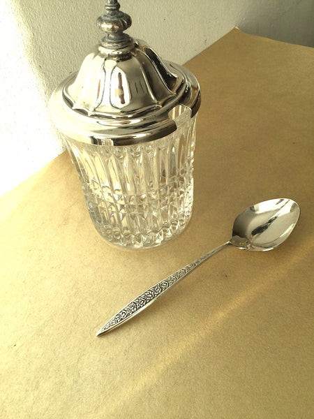 Beautiful glass jar with spoon