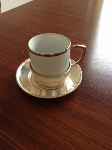 Coffee cup, silver plate & spoon set