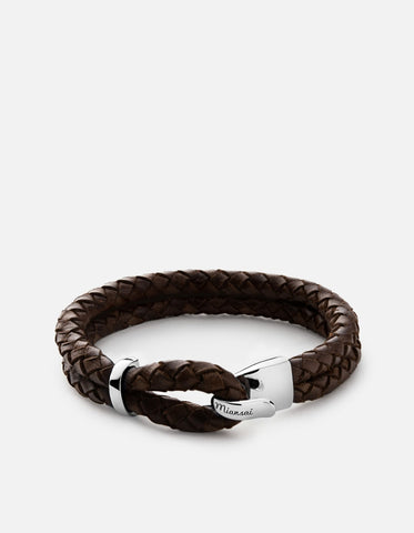 BEACON BROWN LEATHER BRACELET, STERLING SILVER