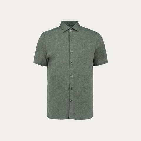SHORT SLEEVE KNIT STRECH SHIRT // GREY