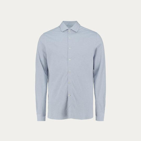 LONG SLEEVE KNIT STRECH SHIRT // LIGHT BLUE