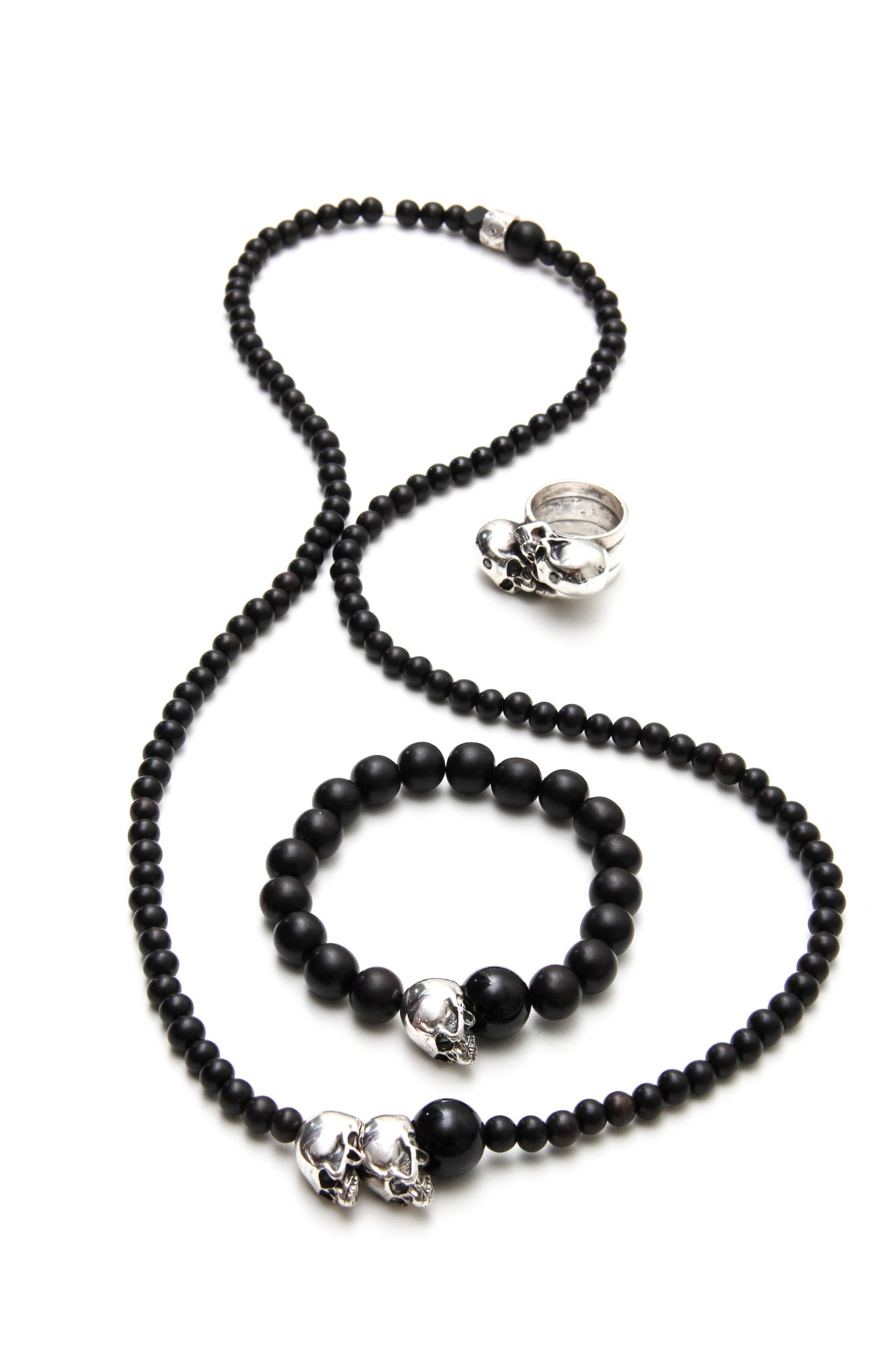 (ADD) 925 LIMITED BEADED M.M EBONY WOOD NECKLACE