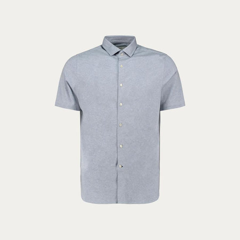 SHORT SLEEVE KNIT STRECH SHIRT // LIGHT BLUE