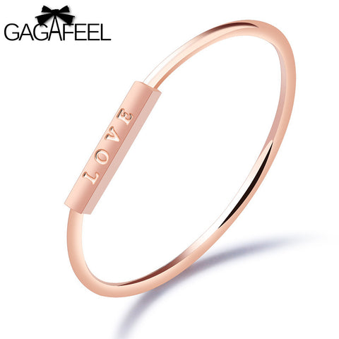 GAGAFEEL Love Ring Trendy Rings For Women Stainless Steel Jewelry Rose Gold Color Trendy 1MM Width Finger Accessory Dropshipping