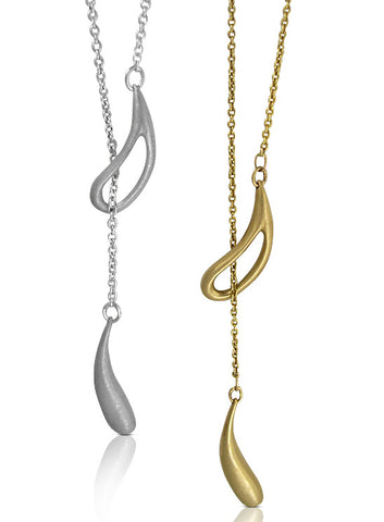 Aqua Lariat - 9ct Yellow Gold