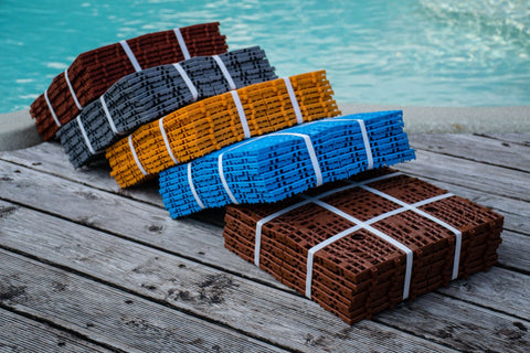 Plastic slip resistant tiles Aqua 160 (Azure, Yellow, Terra Cotta red, Pigeon blue, Sanguine) - US Communication Service