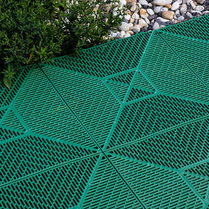 Plastic slip resistant tiles Aqua 378 (Green, Sanguine, Grey, Blue) - US Communication Service